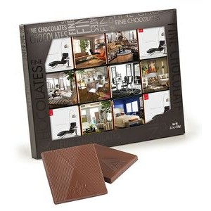 12 Belgian Chocolate Deluxe Squares in Black Gift Box (12 Separate Images)